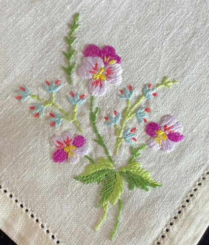 6 Antique French Linen Hand Embroidered Napkins w/ Hemstitching Pansies  WW96