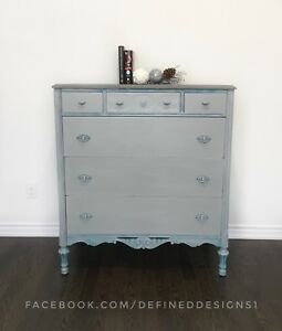 Grey and Teal Tall Dresser