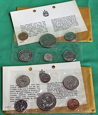 1969-1970 Uncirculated Canada 6 Coin Sets RCM Issued with Original Packaging