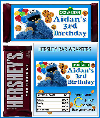 COOKIE MONSTER BIRTHDAY PARTY FAVORS CANDY BAR HERSHEY BAR WRAPPERS