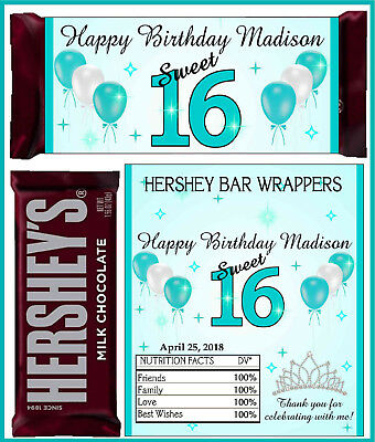 SWEET 16 SIXTEEN BIRTHDAY PARTY FAVORS CANDY BAR HERSHEY WRAPPERS TEAL TURQUOISE - Sweet Sixteen Favors