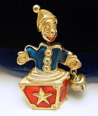 Trifari TM 90s Trembler Brooch Jack In the Box Clown Blue Red Enamel](Jack In The Box Costume)