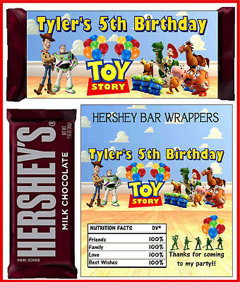 TOY STORY BIRTHDAY PARTY FAVORS CANDY BAR HERSHEY BAR WRAPPERS