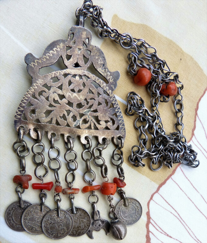 Moroccan Tunisia Berber Jewelry, Antique silver and coral pendant necklace