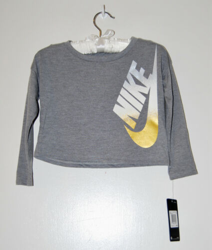 NWT Nike Toddler Girls Heather Gray Cropped LS Gold Foil Logo T-Shirt sz 2T