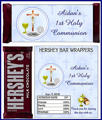 FIRST 1ST HOLY COMMUNION PARTY FAVORS CANDY BAR HERSHEY BAR WRAPPERS BLUE
