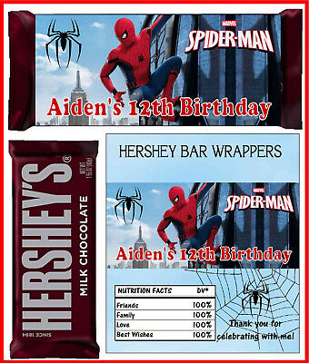 SPIDERMAN BIRTHDAY PARTY FAVORS CANDY BAR HERSHEY BAR WRAPPERS