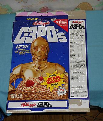 vintage Kellogg's C-3PO's CEREAL BOX (Stormtrooper mask on back) Star Wars