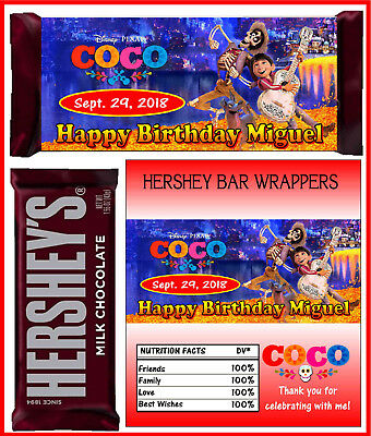 COCO BIRTHDAY PARTY FAVORS CANDY BAR HERSHEY BAR WRAPPERS