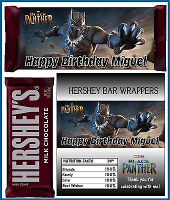 Avengers Birthday Party Favors (AVENGERS BLACK PANTHER BIRTHDAY PARTY FAVORS CANDY BAR HERSHEY BAR)