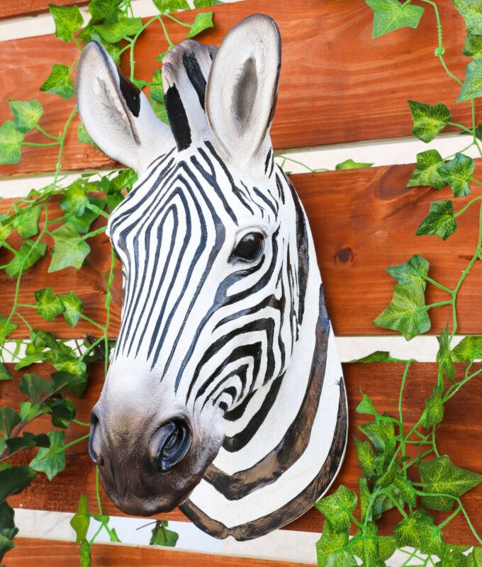 "Botswana The Zebra Hanging Head Bust Wall Figurine Home Decor Plaque 15""H"