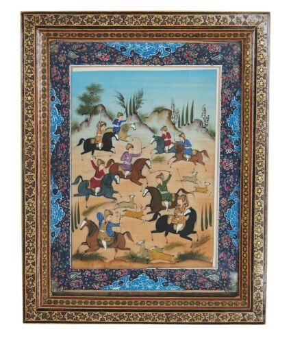 Persian Miniature Hand Painting On Bone Khatam Inlaid Mosaic Marquetry Frame