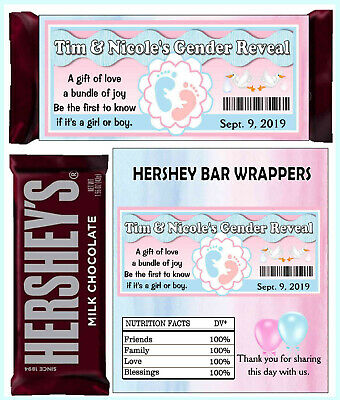 GENDER REVEAL PARTY FAVORS CANDY BAR WRAPPERS HERSHEY BAR WRAPPERS](Gender Reveal Candy)