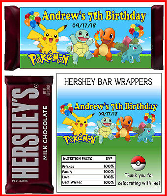 POKEMON BIRTHDAY PARTY FAVORS CANDY BAR HERSHEY BAR WRAPPERS