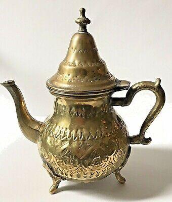 Teapot Brass Golden Engraved Oriental Maghreb/Orientalist Carved Brass Tea Pot