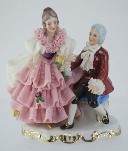 Vintage Dresden Lace Figurine Couple Man And Woman