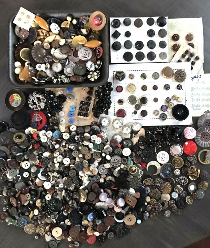 AWESOME 4 + POUND LOT OF ANTIQUE BUTTONS METAL GLASS PEARL AND MORE