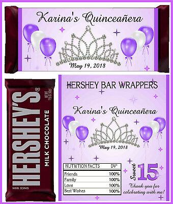 QUINCEANERA PARTY FAVORS CANDY BAR HERSHEY BAR WRAPPERS PURPLE LAVENDER](Purple Candy Bar)