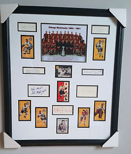 1960-61-Chicago-Blackhawks-Stanley-Cup-Champs-Framed-w-16-autographs-JSA-Letter