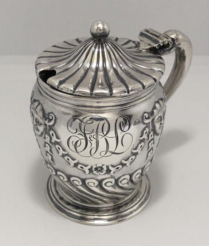 Antique Gorham Belleflower Smiling Devil Masks Sterling Silver Mustard Pot
