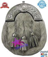 Highland Kilt Sporran Grigio Bovine Celtic Con Paletta / Pelle Scozzese / L -  - ebay.it