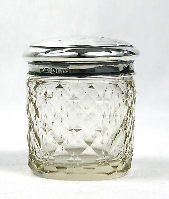 Vintage Sterling Silver Dressing Table Vanity Jar Cut Glass Birmingham 1946