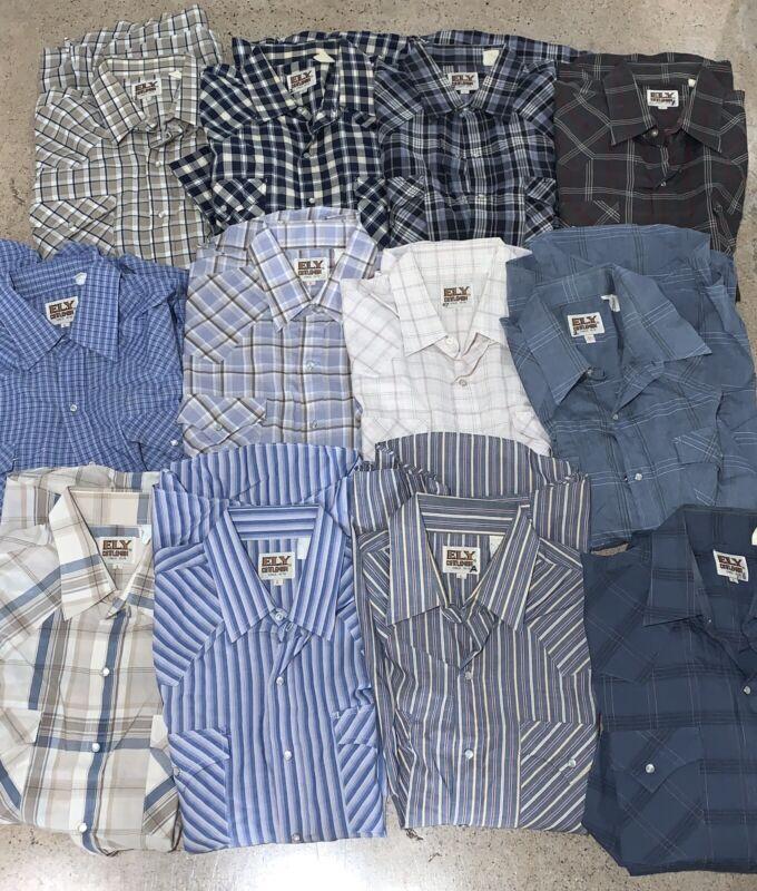 12 Vtg ELY Western Snap Shirts Large L 16.5 LOT Cowboy Plaid SS