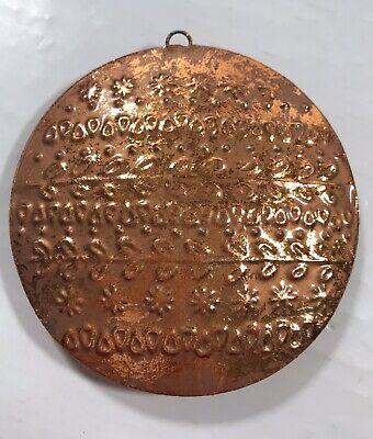 Copper Color Tin Textured Round Tree Holiday Ornament Decoration Home Decor