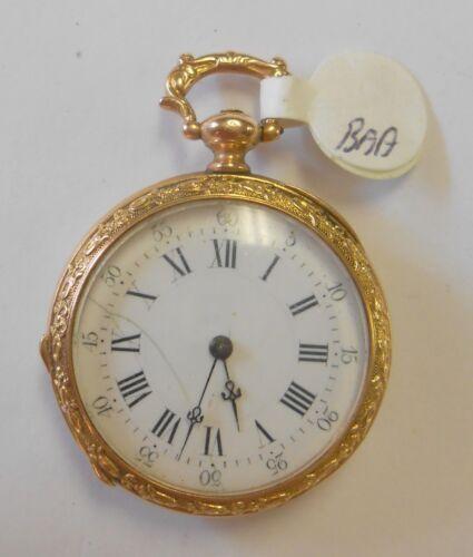 Antique 14K Yellow Gold Case Womens Pendant Pocket Watch Enamel Flowers Key Wind