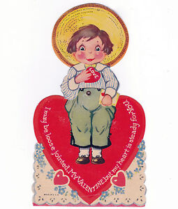 VINTAGE-VALENTINES-DAY-CARD-MECHANICAL-xXF-COLORFUL-BOY-HEART-UNUSED-1920S
