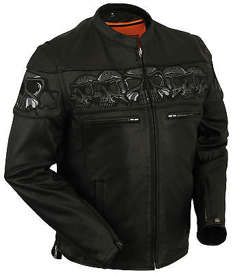 Men's Vented Scooter Jacket W/ Reflective Skull Design On The Front, Arm & Back