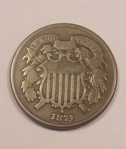 1871 Two 2 Cent Piece AU  .......Combined Shipping........Lot#5727