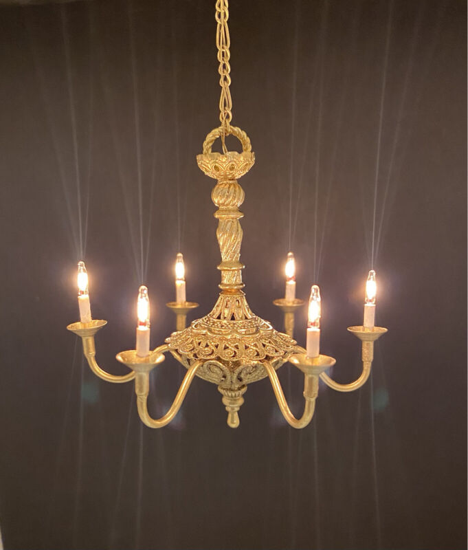 Dollhouse Miniature Handcrafted 6 Light Colonial Style Brass Chandelier 1:12 12V