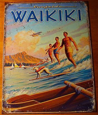 RETRO VINTAGE WAIKIKI HAWAII Canoe Diamond Head Surfer Beach Sign Home Decor NEW (Retro Hawaiian Decor)