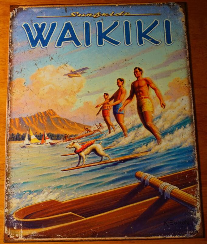 RETRO VINTAGE WAIKIKI HAWAII Canoe Diamond Head Surfer Beach Sign Home Decor NEW