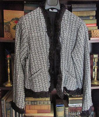 Fringed Black & White Boucle Tweed Cropped Blazer by Jessica London Size -