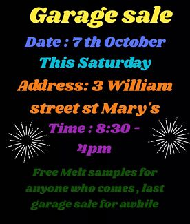 Garage sale/ candle party the last one for awhile