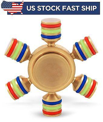Spinner Fidget Brass Hand Hexagonal Toy Finger Edc Metal Stress Focus Toys Adhd