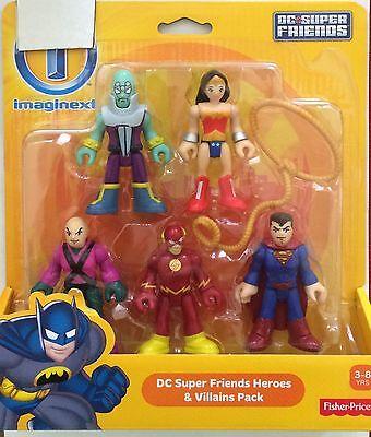 NIB Fisher Price Imaginext DC Super Friends 5 Figure Pack Wonder Woman, Superman