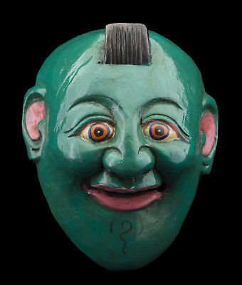 Small Mask green nepalese ritual Protector Shaman talisman Tibet 26132 C5