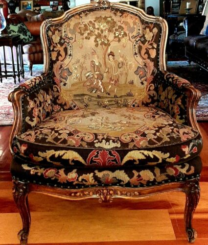 Antique Bergere Chair - French Louis Walnut Needlepoint Chinoiserie - 1800