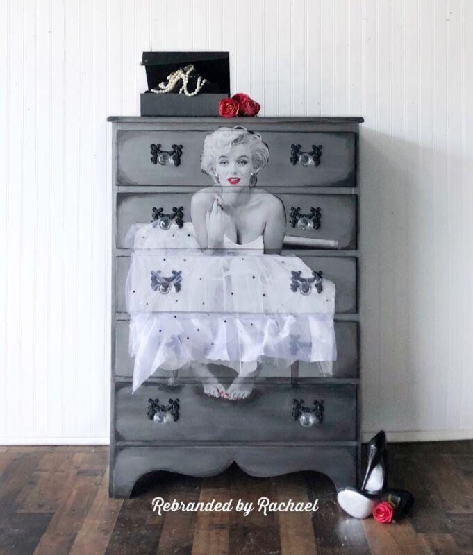 Marilyn Monroe Silver Metallic Vintage Glam Dresser With Crystal Knobs.