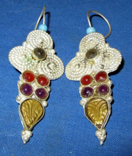 "Earrings Cross Afghan Kuchi Tribal Alpaca Silver 1 1/2"" NICE"