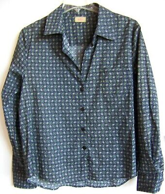TULIP (brand) Career Blouse Top Long Sleeve Button Front Black-Green Print S