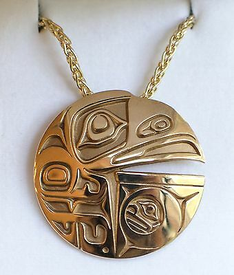 Raven and the Box Of Daylight 14k Yellow Gold Pendant Necklace by Odin Lonning