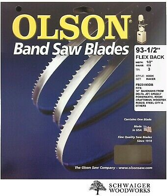 Olson Flex Back Band Saw Blade 93-12 Inch X 12 3tpi 14 Delta Jet Grizzly