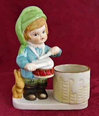 Jasco Porcelain 1978 Christmas Luvkins Little Drumer Boy  Candle Holder w/. Box  - Little Drumer Boy