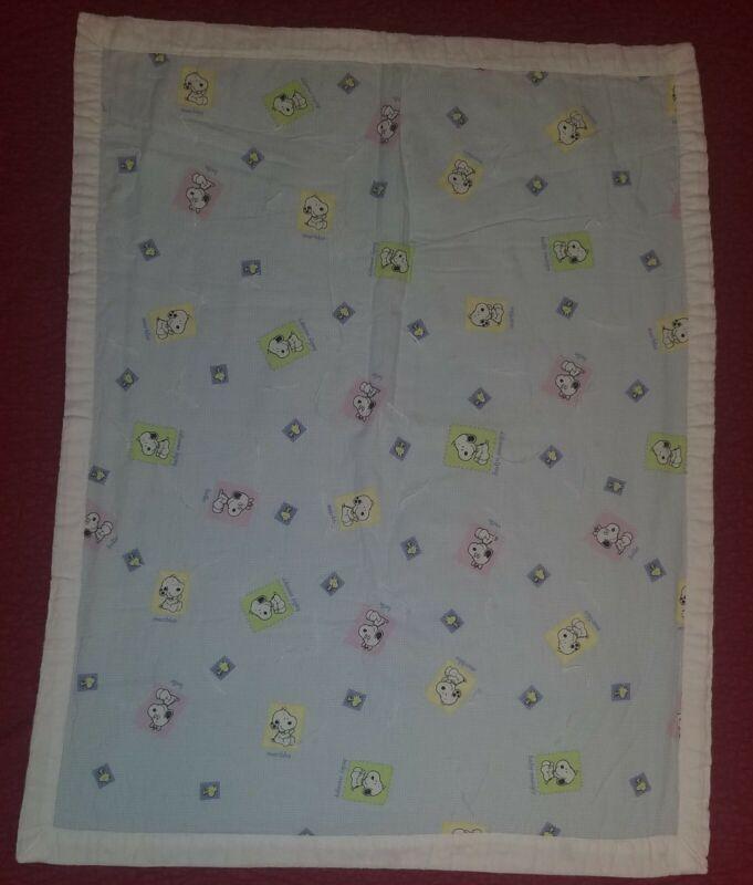 Homemade Snoopy Baby/Crib/Kids/Lap Blanket/Quilt Woodstock Belle Marbles Blue