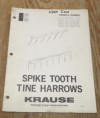 Krause Spike Tooth Tine Harrows Owners Manual 1983 Book