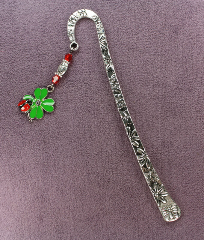 CLOVERBUG CHARM BOOKMARK 4-Leaf Clover Ladybugs Amulet Talisman Symbol Lucky